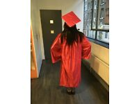 4 Satin Graduation Gowns, Hats and Tassels (High quality, fancy dress)