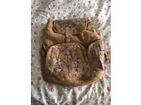 Suede Rucksack with Embroidered Pattern from Mumbai India