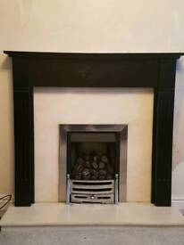 Black painted wood fire surround