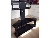 TV stand with integrated TV Mount - Black Smoked Glass - As new