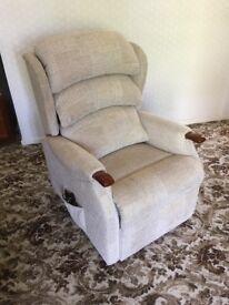 Recliner Chair: Dual Motor Lift and Tilt - Celebrity Westbury: Petite Fusion sand fabric, teak arms