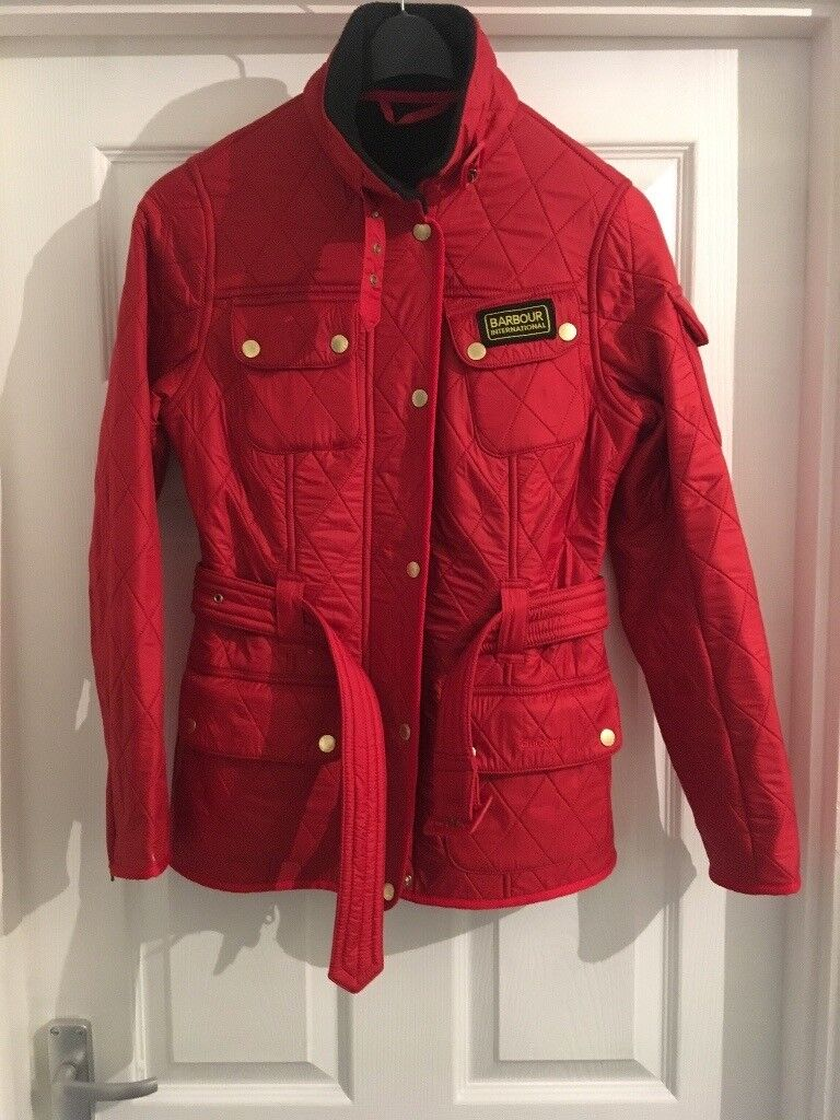 Woman's genuine red barbour coat