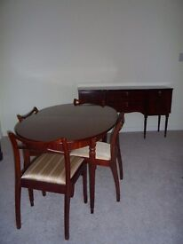 Elegant Regency style dining table, chairs and sideboard