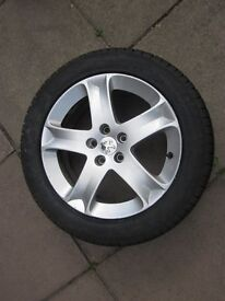 """2 PEUGEOT 407 17"""" ALLOY WHEELS WITH NEW PIRELLI 215/55/17 TYRES"""