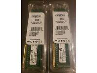 New Crucial 16GB (2x 8GB) PC3-12800 DDR3 SDRAM 1600 MHz UDIMM MEMORY