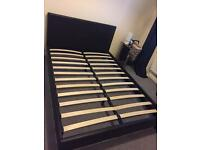Brown imitation leather double bed frame