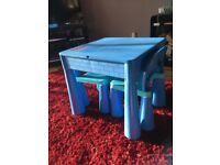 5 in 1 activity table and chairs with writing top/lego/sand/water & storage.