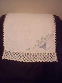 Vintage white linen, lace and embroidered antimacassar/sofa or chair back protector.