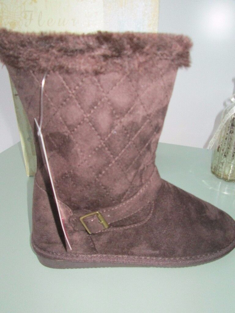 BROWN FUR LINED BOOTS SIZE 5 NEW