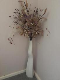 Tall cream floor vase with flowers