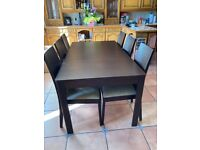 Large dining room table and chairs - good condition