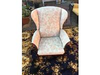 Wing back floral arm chair