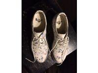 Ladies Dr Marten Shoes - Floral Design