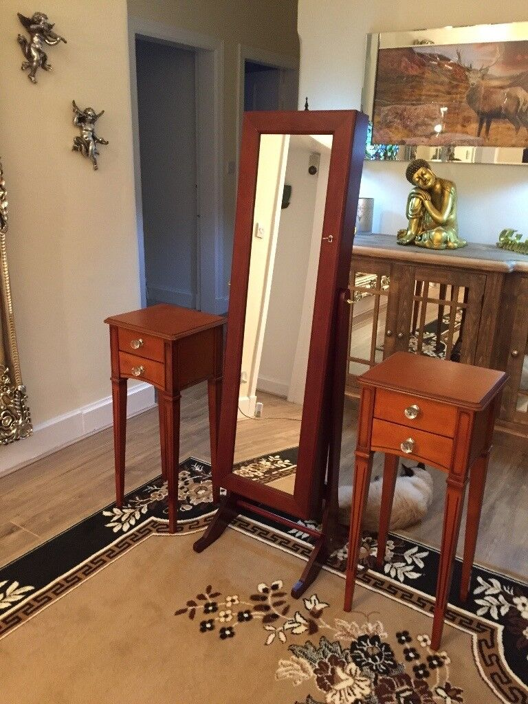 2 bedside cabinets and mirror storage