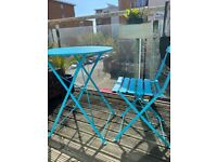 Outdoor patio, balcony, Blue Bistro table plus one chair