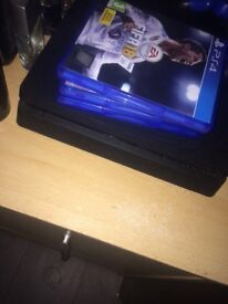PlayStation 4 for sale, 3 games, 2 pads.
