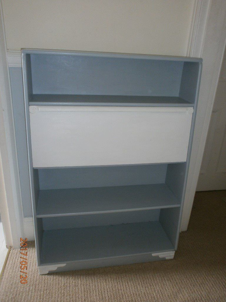 Grey & white desk / bureau / bookcase with pretty detailing