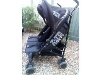 Zeta citi twin stroller buggy pushchair double black