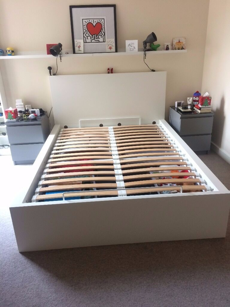 ikea malm ottoman double bed doublebed white including slatted