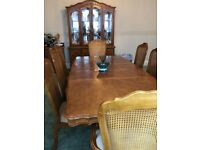 vintage Large Walnut Wood Extendable Table And 8 chairs