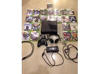 Xbox 360 c/w 23 games 2no controllers and Headset