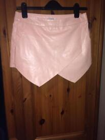 Pink leather hot pants never worn size 10