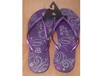 Brand new HAVAIANAS Slim, ROXO purple and silver details size 37/38