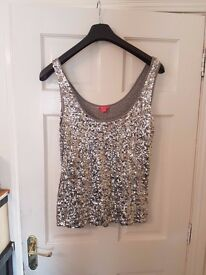 Silver Monsoon Sequined Top Size 18