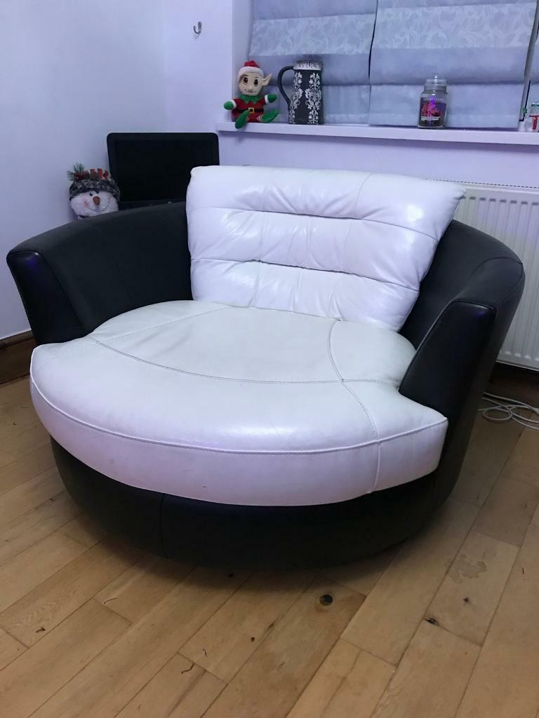 Black And White Leather Cuddle Chair Footstool