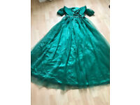 size 6, brand new, off-the-shoulder, floor length evening dress with ruffle beading