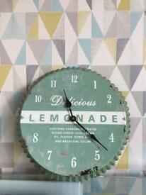 Retro Delicious green lemonade wall clock