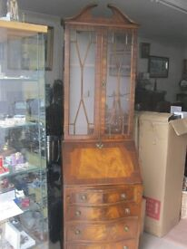 ORNATE FLAME MAHOGANY GLAZED DISPLAY CABINET OVER BUREAU. GOOD CONDITION. VIEWING/DELIVERY POSSIBLE