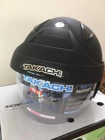 TAKACHI. XS OPEN FACE MAT BLACK HELMET