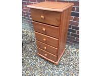 Slim solid pine chest of drawers