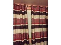 Stripy ring top curtains (unlined) 2 pairs