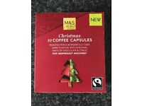 M&S Nespresso Christmas Coffee Capsules, 10 Capsules per Pack, Brand New, 2 Packs for £3