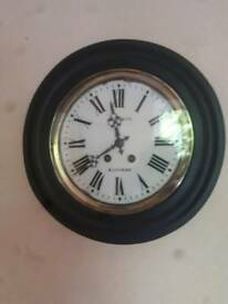 ANTIQUE FRENCH CHIMING WALL DIAL CLOCK BAILLEUL OF MAROMME OF NORMANDY