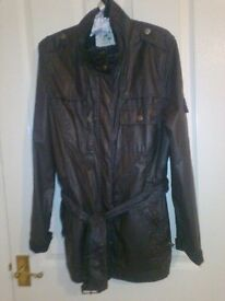 Navy waxed jacket by Crew Clothing Co. Size 14