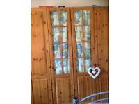 Pine glass wardrobes