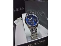 Brand New Bulova Mens blue face steel chronograph RRP £199