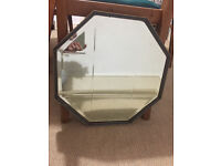 Old Vintage wooden bevelled hexagonal mirror, teal and gold, bathroom, lounge, hallway, diningroom