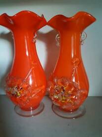 2 vintage orange glass vases 9 ins