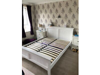 King sized white wood bed frame
