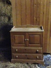 Baby changing , chest of drawers . Solid pine .