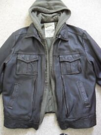 Next Mens Leather Jacket with Detachable Hood