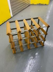 12 bottle wood and metal wine rack