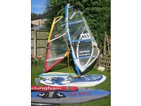 STARBOARD RIO S WINDSURFING BOARD AND SAILS 3.5 & 2 sq m