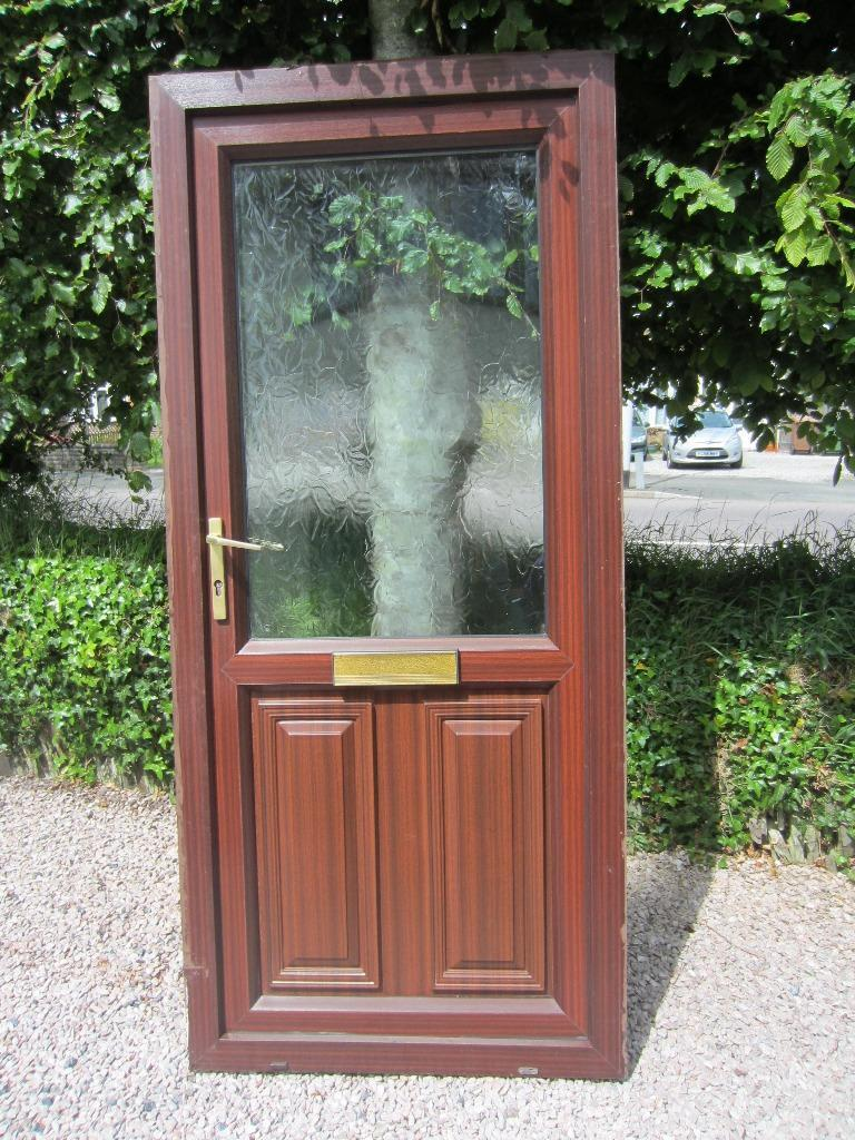 Brown woodgrain upvc double glazed front door good for Upvc front door 78 x 30