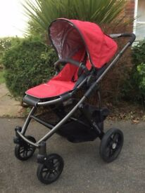 UPPABaby Vista Push Chair / Stroller (Red Covers, Black Frame + Spare Set of Fabric Covers)