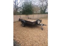 Trailer-Wooden bed with drop end (8' x 5', overall length 11'). Working electrics. New jockey wheel